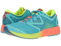Asics Noosa Ff Aquarium Flash Coral Safety Yellow Women's Running Shoes Blue