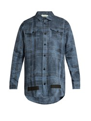 Off White Mirror Mirror Print Checked Linen Shirt Blue