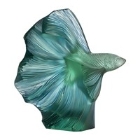 Lalique Fighting Fish Sculpture Mint Green Blue