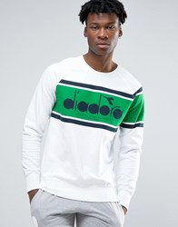Diadora Sweatshirt With Retro Large Logo White
