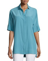 Lafayette 148 New York Andra Short Sleeve Silk Blouse Women's Blue Steel