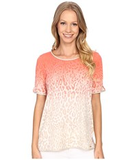 Calvin Klein Short Sleeve Top W Faux Leather Piping Porcelain Rose Latte Multi Women's Short Sleeve Knit Orange