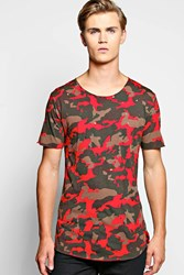 Boohoo Camo T Shirt With Distressing Red