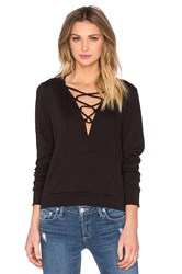 Lanston Lace Up Hoodie Black