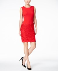 Calvin Klein Petite Lace Inset Sheath Dress Red