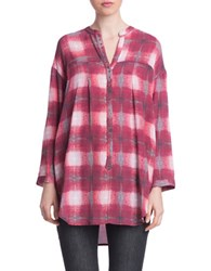 Plenty By Tracy Reese Floral Print Henley Tunic Ruby Ombre