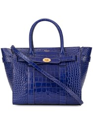 Mulberry Mini Zipped Bayswater Croc Print Bag Blue