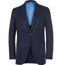 Isaia Blue Slim Fit Wool Silk And Linen Blend Blazer Blue