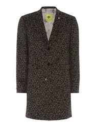 Noose And Monkey Men's Leopard Print Wool Overcoat Coat Gold
