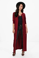 Boohoo Maxi Button Front Cardigan Wine