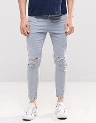 Asos Skinny Cropped Jeans With Extreme Knee Rips In Light Blue Light Blue