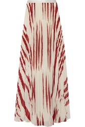 Tory Burch Lucea Printed Crinkled Chiffon Maxi Skirt Cream