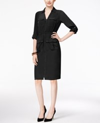 Alfani Petite Zip Front A Line Shirtdress Only At Macy's Deep Black