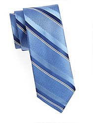 Saks Fifth Avenue Made In Italy Wide Textured Silk Tie Light Blue