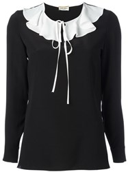 Saint Laurent Monochrome Ruffle Collar Blouse Black