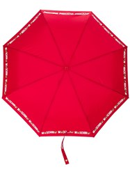 Moschino Logo Print Umbrella Red