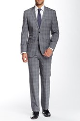 English Laundry Plaid Two Button Notch Lapel Wool Suit Gray