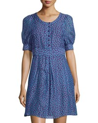 See By Chloe Butterfly Print Short Sleeve A Line Dress Blue Purple
