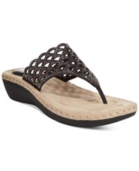Cliffs By White Mountain Cameo Thong Wedge Sandals Women's Shoes Black