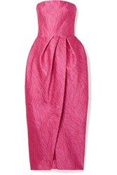 Monique Lhuillier Strapless Jacquard Midi Dress Pink