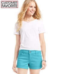 Celebrity Pink Jeans Juniors' Mid Rise Cuffed Colored Wash Shorts 3' Inseam Blue Radiance