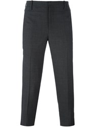 Neil Barrett Pinstripe Cropped Trousers Grey