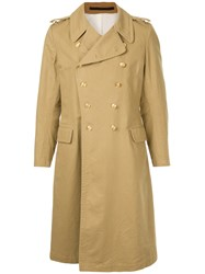 Kent And Curwen Double Breasted Trench Coat Brown