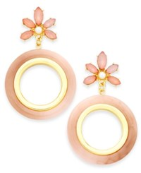 Inc International Concepts Gold Tone Stone Flower And Resin Gypsy Hoop Earrings Created For Macy's Gold Pink