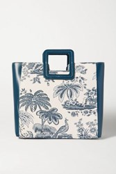 Staud Shirley Leather And Printed Cotton Canvas Tote Blue