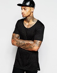 Asos Longline T Shirt With Scoop Neck And Fine Stripe Drape Blackgrey