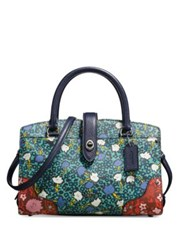 Coach Mercer 24 Multi Floral Print Leather Satchel