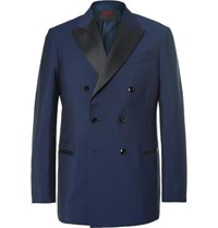 Massimo Piombo Mp Blue Slim Fit Double Breasted Wool And Alpaca Blend Tuxedo Jacket Navy