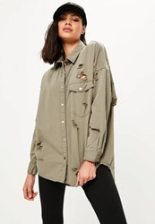 Missguided Khaki Oversized Ripped Denim Shirt