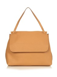 The Row Grained Leather Shoulder Bag Tan