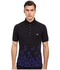 Vivienne Westwood Absence Of Roses Pique Classic Polo Navy Men's Clothing
