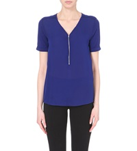 The Kooples Signature Silk T Shirt Blue Electric