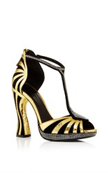 Rodarte Black Embossed Leather T Strap Sandal