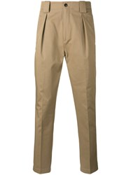 Etro Front Pleat Tapered Trousers Men Cotton 46 Nude Neutrals