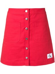 Calvin Klein Jeans Button Up Mini Skirt Red