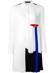 Versace Pleated Colour Block Dress White