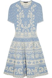 Alexander Mcqueen Stretch Jacquard Knit Mini Dress Sky Blue