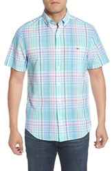 Vineyard Vines Classic Fit Jays Peak Plaid Woven Shirt Ocean Breeze