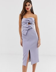 True Decadence Premium Double Bow Front Midi Dress With Keyhole Detail In Soft Lavender Purple