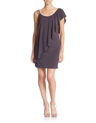 Betsy And Adam One Shoulder Dress Taupe Silver