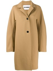 Jil Sander Oversized Single Breasted Coat Neutrals