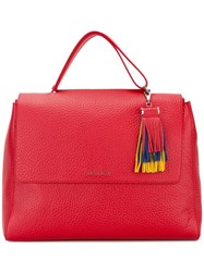 Orciani Fringed Detail Tote Red