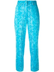 Versace Vintage Snake Skin Effect Cropped Trousers Blue