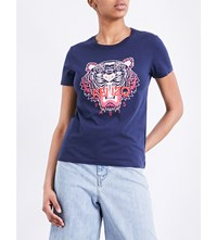 Kenzo Tiger Print Cotton Jersey T Shirt Ink