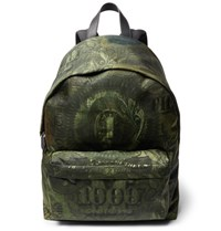 Givenchy Leather Trimmed Dollar Print Shell Backpack Green