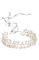 Nestina Accessories Freshwater Pearls Bridal Head Piece Metallic Silver